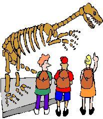 Cartoon Graphic of Kids pointing a dinosaur skeleton