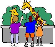 Cartoon Graphic of Kids pointing at Giraffes