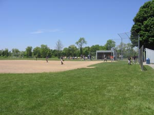 Baseball diamond in a park
