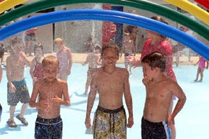 Kids playing in water park