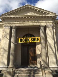 Book sale banner at Cragin Memorial Library